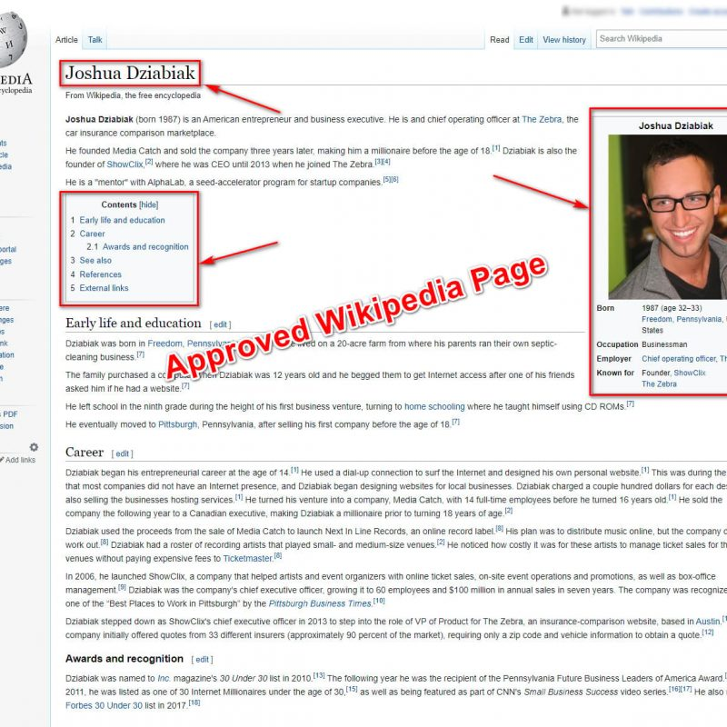 approved wikipedia page